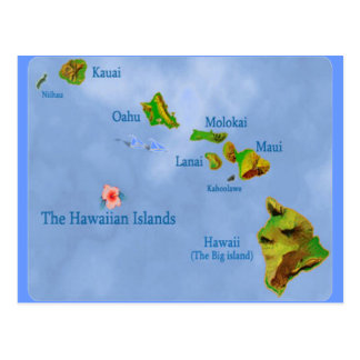 Blue Hawaiian island map postcard