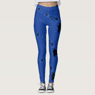 Blue Hawaiian islands Leggings