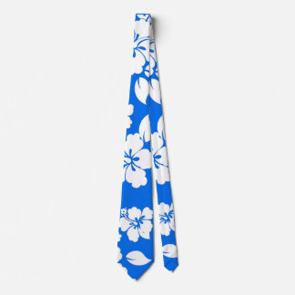 Blue Hawaiian Pattern Tie