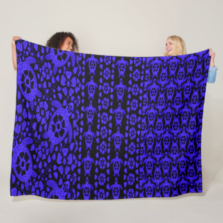Blue Hawaiian Turtle Dance Fleece Blanket