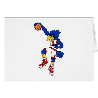 Blue Hawk Basketball Slam Greeting Card