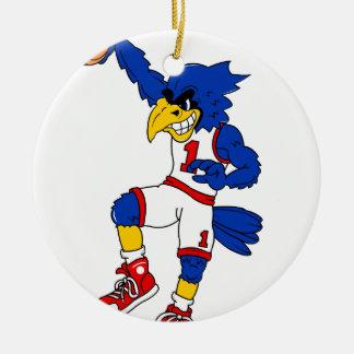 Blue Hawk Basketball Slam Round Ceramic Decoration