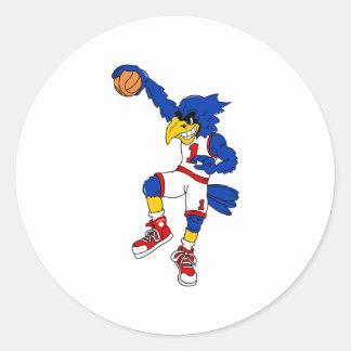 Blue Hawk Basketball Slam Round Sticker