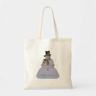Blue Haze Snowman Happy Holidays Tote Bag