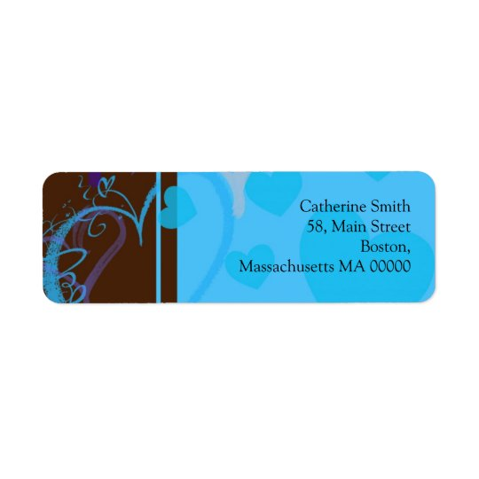 Blue Heart Address Labels