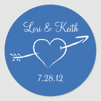 Blue Heart and Arrow Classic Round Sticker