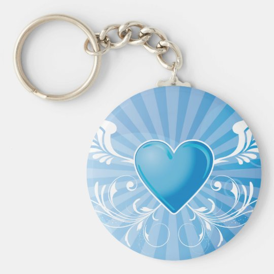 Blue Heart and Wings Basic Round Button Key Ring