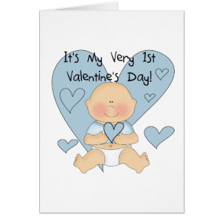 Blue Heart Boy 1st Valentine Tshirts and Gifts Card
