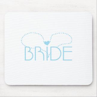 Blue Heart Bride Mouse Pad