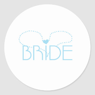 Blue Heart Bride Round Sticker