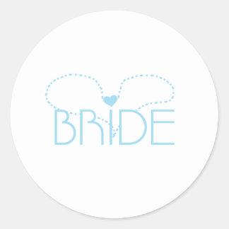 Blue Heart Bride Round Sticker