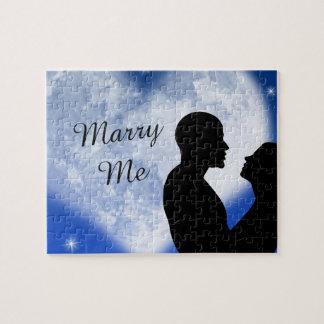 Blue Heart Couple Marry Me Puzzle