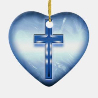 BLUE HEART CROSS ORNAMENT