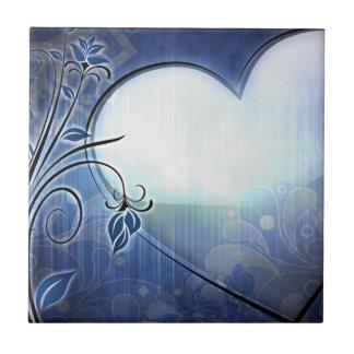 Blue Heart Design Small Square Tile