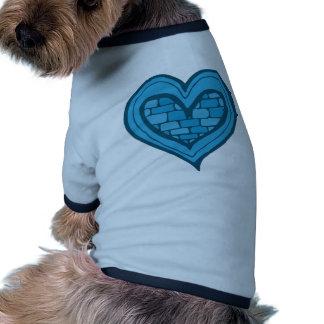 Blue Heart Doodle Ringer Dog Shirt