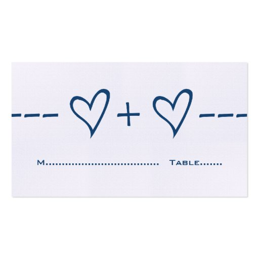 Blue Heart Equation Place Card Business Cards