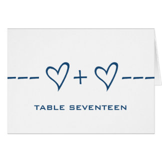 Blue Heart Equation Table Number Card