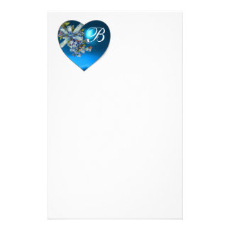 BLUE HEART & FORGET ME NOTS MONOGRAM CUSTOM STATIONERY