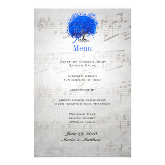 Blue Heart Leaf Tree Wedding Menu