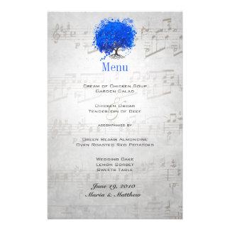 Blue Heart Leaf Tree Wedding Menu Personalised Stationery