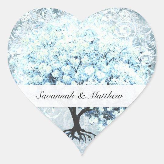 Blue Heart Leaf Tree Wedding Seal