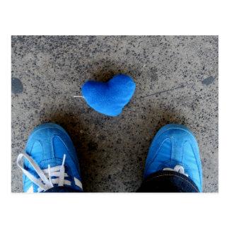 Blue Heart Love Postcard