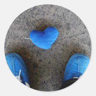 Blue Heart Love Round Sticker