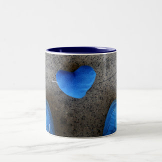 Blue Heart Love Two-Tone Mug