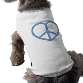 Blue Heart of Love Peace Sign Pet Tee
