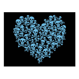 Blue Heart of Skulls Postcard