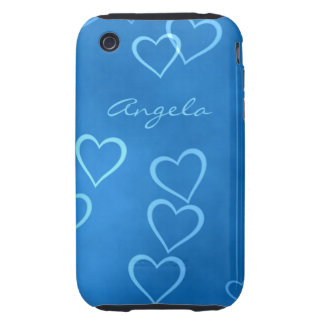Blue heart outlines tough iPhone 3 cover