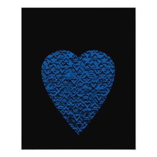 Blue Heart. Patterned Heart Design. Flyers