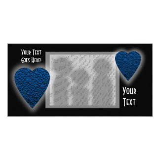 Blue Heart. Patterned Heart Design. Photo Greeting Card