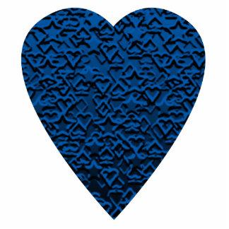 Blue Heart Patterned Heart Design Photo Sculpture