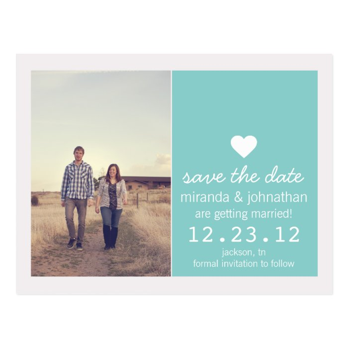 Blue Heart Photo Save The Date Post Cards