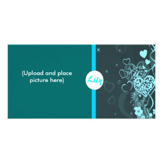 Blue heart photocard card