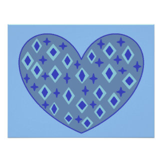 Blue Heart Print