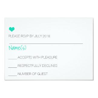 Blue Heart RSVP Card