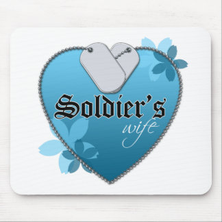 Blue Heart Shaped Dog Tags - Soldier's Wife Mouse Pad