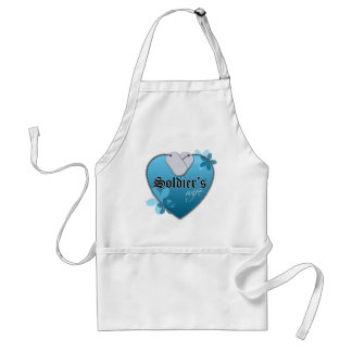 Blue Heart Shaped Dog Tags - Soldier's Wife Standard Apron