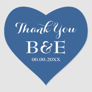 Blue heart shaped wedding favor thank you sticker