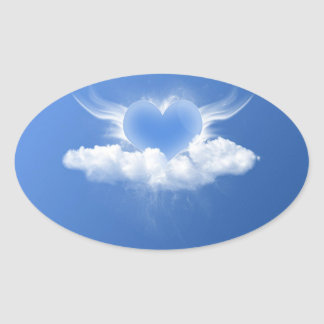 blue heart stiker oval sticker