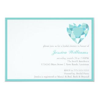 Blue Heart Stone Bridal Shower Card