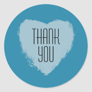 Blue Heart Thank You Stickers