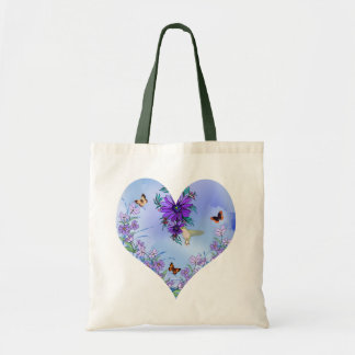 Blue heart tote bags