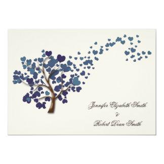 Blue Heart Tree on Ivory Wedding 13 Cm X 18 Cm Invitation Card