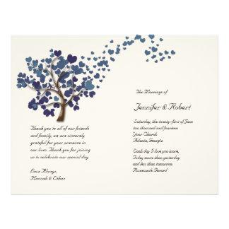 Blue Heart Tree on Ivory Wedding Program Flyer Design
