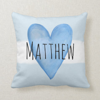 Blue Heart Typography Baby Love with Name Nursery Cushion
