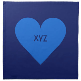 Blue Heart Valentine custom cloth napkins