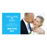 Blue Heart Wedding Photo Thank You Cards